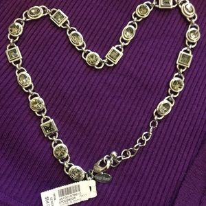 White House Black Market Jewelry - NWT Nickel-free silver tone grey crystal necklace